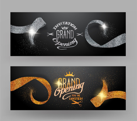 commemorate: Grand opening banners with sparkling gold and silver ribbons Illustration