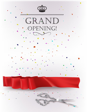 Feierliche Eröffnung Karte mit rotem Band und Silber Schere Standard-Bild - 61252479