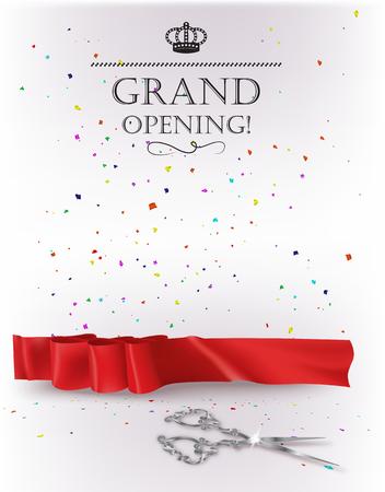 feier: Feierliche Eröffnung Karte mit rotem Band und Silber Schere