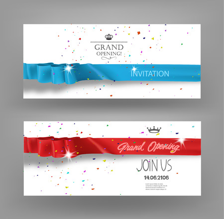 Grand opening cards with silk ribbons, confetti and scissors