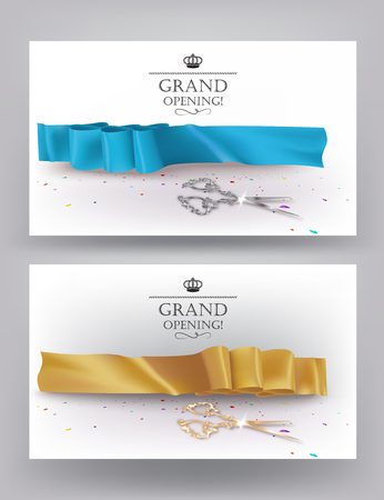 silver silk: Grand opening cards with silk ribbons, confetti and silver scissors. Vector illustration Illustration