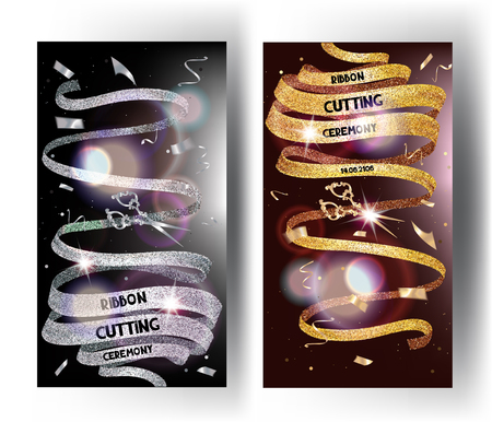 Grand opening cards with sparkling long ribbons and confetti. Vector illustration Illusztráció