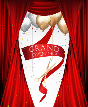 grand sale: GRAND OPENING INVITATION BANNER WITH THEATER CURTAINS, CONFETTI, SCISSORS AND RED RIBBON. VECTOR ILLUSTRATION