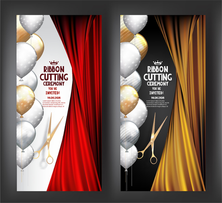 GRAND OPENING INVITATION BANNERs WITH THEATER CURTAINS, CONFETTI, SCISSORS AND RED RIBBON. VECTOR ILLUSTRATION
