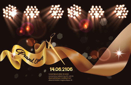 Grand Opening invitation card with gold sparkling ribbon and gold scissors on the dark background. Vector illustration Vectores