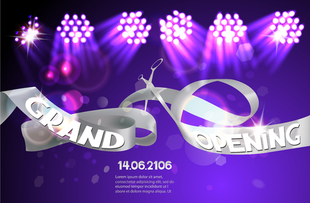 businness: Grand Opening invitation card with gold sparkling silver ribbon and gold scissors. Vector illustration