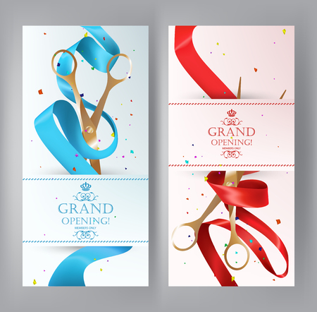 blue ribbon: Grand Opening vertical banners with red and blue ribbon and scissors. Vector illustration Illustration
