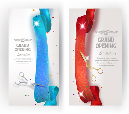 Grand Opening vertical banners with sparkling red and blue ribbon and scissors. Vector illustration