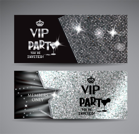 Horizontal silver Vip cards. Vector illustration