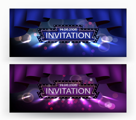 commemorate: Invitation banners with retro frame, theater curtains and spotlights beams. Vector illustration