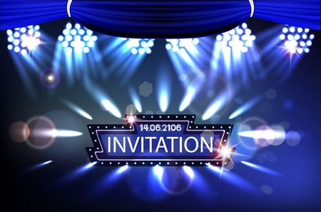 Invitation banners with retro frame, theater curtains and spotlights beams. Vector illustration