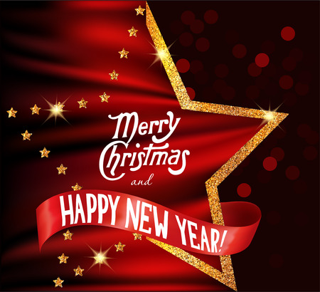 Merry christmas and new year background with silk red fabric and gold star shaped frame. Vector illustration