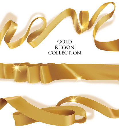 Set of gold silk curled ribbons. Vector illustration