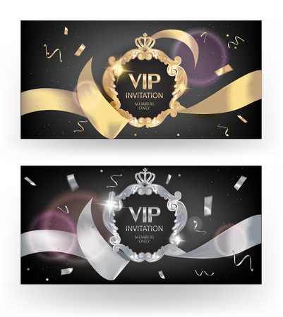 VIP elegant cards with silk ribbons, confetti and vintage frames. Vector illustration