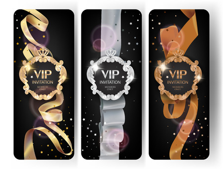 VIP elegante vertikale Karten mit Seidenbändern, Konfetti und Vintage-Rahmen. Vektor-Illustration