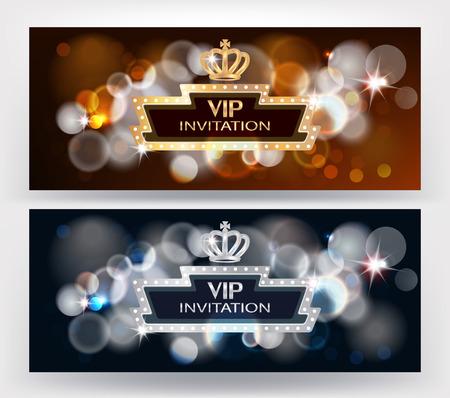 VIP horizontal invitation cards with bokeh background, crown and retro frame. Vector illustration Illusztráció