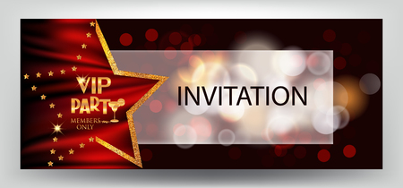 commemorate: VIP party elegant horizontal invitation card with bokeh background and star shaped frame. Vector illustration Illustration