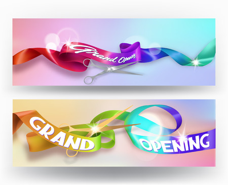 hologram: Set of grand opening invitation cards with colorful holographic ribbons. Vector illustration