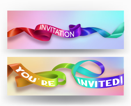 Set of invitation cards with colorful holographic ribbons. Vector illustration