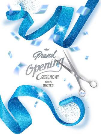 Grand opening banners with curled blue sparkling ribbons and confetti. Vector illustration
