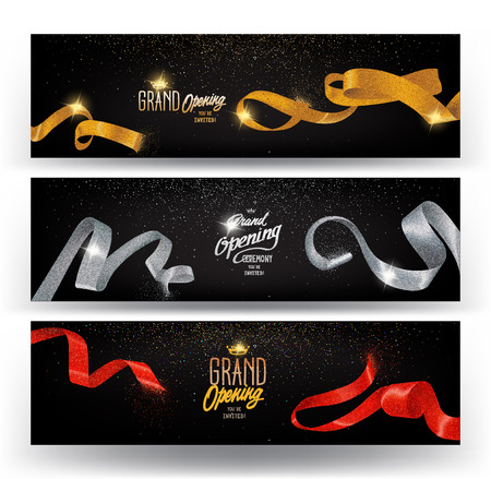Grand opening horizontal banners with curled sparkling ribbons. Vector illustration