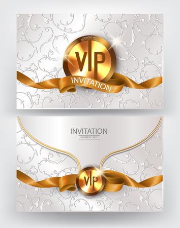 élégante enveloppe d'invitation avec des éléments de décoration florale et ruban d'or de soie. Vector illustration
