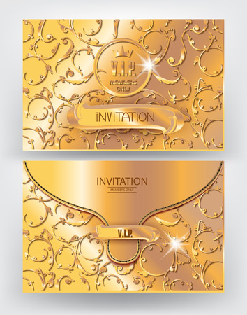 wax glossy: Gold envelope with floral design elements. Vector illustration