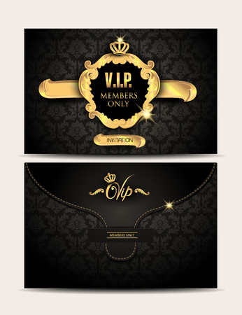 exclusive: Gold VIP textured envelope with floral background and gold vintage frame. Vector illustration
