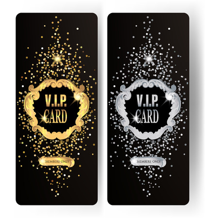 Sparkling VIP gold and silver vertical cards with vintage frame. Vector illustration