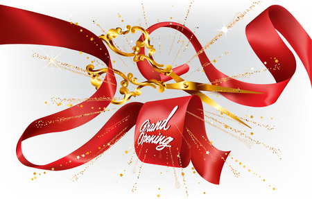 Grand opening Invitation card with curled silk ribbon, scissors and fireworks. Vector illustration