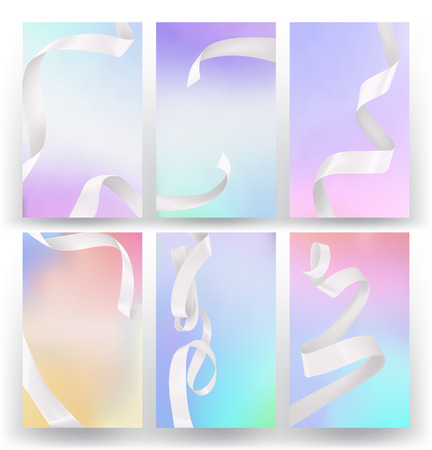 perl: Set of abstract colorful holographic backgrounds with silk white ribbons Illustration