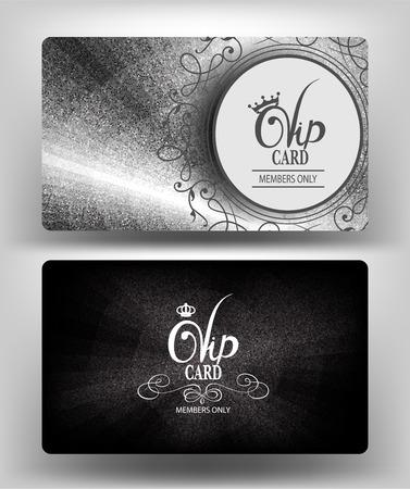 金属的な質感とシルバー カード。ベクトル図