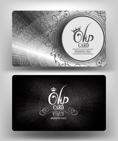 Silver cards with metallic texture. Vector illustration Vettoriali