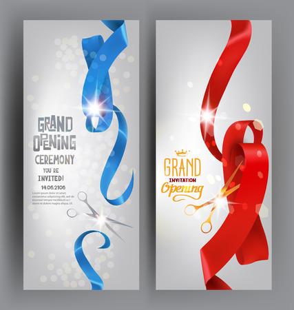 Feierliche Eröffnung glänzend elegante Banner mit Seide krause Bänder, Scheren. Vektor-Illustration Standard-Bild - 61252632
