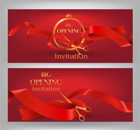 Feierliche Eröffnung eleganten roten Fahnen mit roten krause Bänder, Scheren. Vektor-Illustration Standard-Bild - 61252633