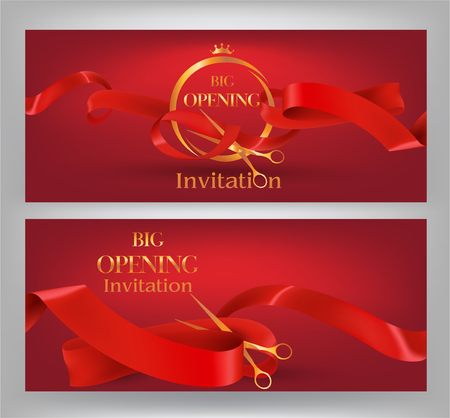 blink: Grand opening elegant red banners with red curled ribbons, scissors. Vector illustration Illustration