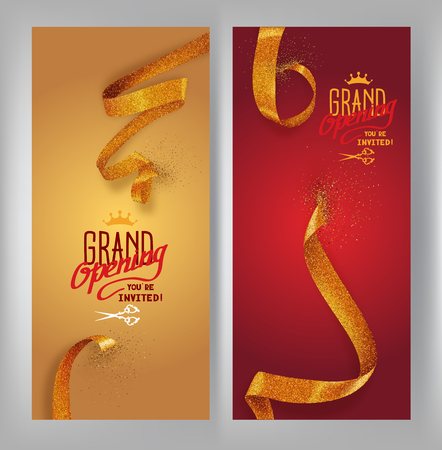 Set of grand opening vertical banners with gold sparkling ribbons. Vector illustration Illustration