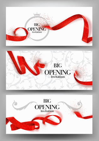 Set of BIG OPENING banners with red sparkling ribbons and scissors Vectores