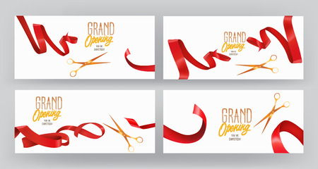 businness: Set of GRAND OPENING banners with red silk ribbons and scissors