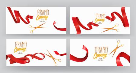 Set von GRAND OPENING Fahnen mit roten Seidenbändern und Schere Standard-Bild - 61252639