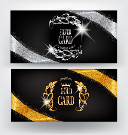platinum: Vip cards with gold and silver sparkling ribbons. Vector illustration