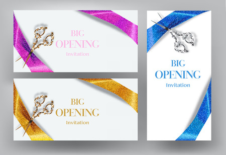 invitation cards: Big opening invitation cards with scissors and sparkling ribbons
