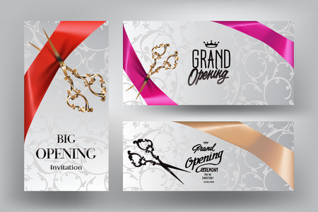 ribbon cutting: Ribbon cutting ceremony invitation cards with scissors and silk ribbons Illustration