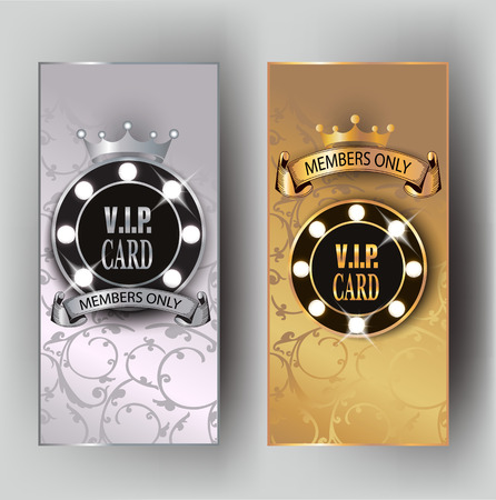VIP banners with stage spotlights and floral design background. illustration