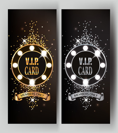 Magic sparkling VIP gold and silver cards with shiny spotlights. illustration