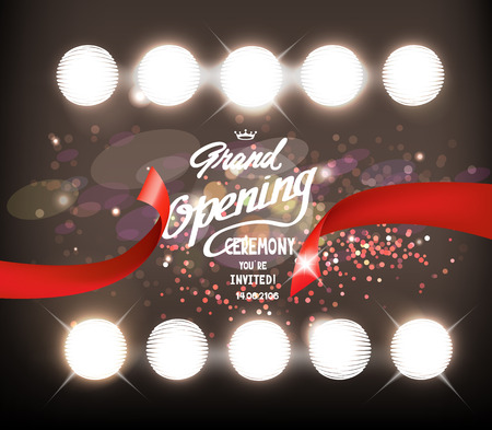 sparkling grand opening composition with shiny spotlights. illustration