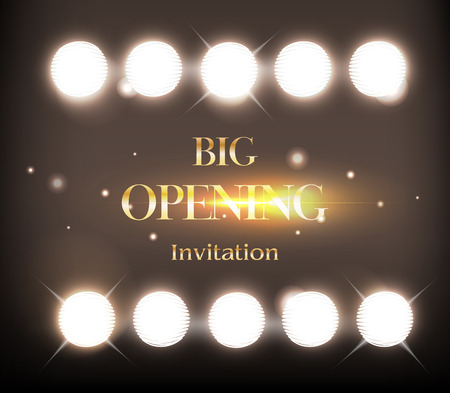 Grand opening Invitation card. Party background. Gold shine and stage lights. illustration
