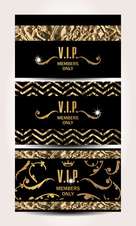 VIP cards with foil background