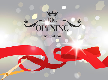 illustration invitation: Grand opening Invitation. Blurred background. illustration Illustration