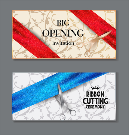 beginning: Elegant horizontal banners for grand opening ceremony with sparkling ribbons, scissors and floral design background. illustration.